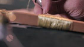 Η γυναίκα ράβει, κεντά στο ύφασμα, λαϊκή τέχνη απόθεμα βίντεο