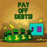 Η εννοιολογική παρουσίαση γραψίματος χεριών πληρώνει μακριά τα χρέη Η πληρωμή κειμένων επιχειρησιακών φωτογραφιών για το πράγμα ε διανυσματική απεικόνιση