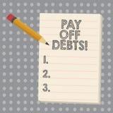 Η εννοιολογική παρουσίαση γραψίματος χεριών πληρώνει μακριά τα χρέη Η πληρωμή επίδειξης επιχειρησιακών φωτογραφιών για το πράγμα  διανυσματική απεικόνιση