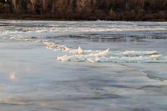 Η κάθοδος του πάγου την άνοιξη στον ποταμό είναι το Μάρτιο ένα φυσικό φαινόμενο ενάντια στον ουρανό και καλύπτει το βράδυ στοκ φωτογραφία με δικαίωμα ελεύθερης χρήσης