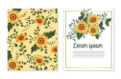 Η καθορισμένη κάρτα με τους ηλίανθους και διακλαδίζεται φύλλα διανυσματική απεικόνιση