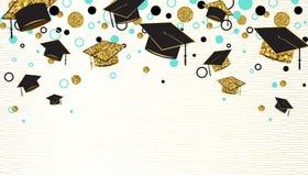 Η λέξη βαθμολόγησης με τη διαβαθμισμένη ΚΑΠ, το μαύρο και χρυσό χρώμα, ακτινοβολεί σημεία σε ένα άσπρο υπόβαθρο Πτυχιούχοι συγχαρ διανυσματική απεικόνιση
