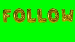 Η λέξη προκύπτει από τις χρυσές επιστολές μπαλονιών ηλίου που επιπλέουν στην πράσινη οθόνη - απόθεμα βίντεο