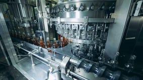 Η μηχανή εργοστασίων γεμίζει αυτόματα τα μπουκάλια γυαλιού με το οινόπνευμα Παραγωγή του ουίσκυ, σκωτσέζικη, κονιάκ απόθεμα βίντεο