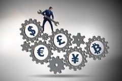 Η οικονομική έννοια με τα διάφορα νομίσματα στοκ εικόνες