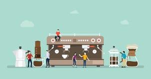 Η διάφορη μηχανή καφέ παρασκευάζει με το διαφορετικές ύφος και τη μέθοδο - διανυσματική απεικόνιση απεικόνιση αποθεμάτων