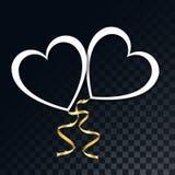Η όμορφη Λευκή Βίβλος οι καρδιές με τις χρυσές εορταστικές κορδέλλες σε ένα διαφανές, σκοτεινό, ελεγμένο μαύρο υπόβαθρο από τα τε διανυσματική απεικόνιση