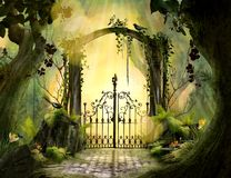 Η όμορφη ονειροπόλος αψίδα τοπίων ο κήπος απεικόνιση αποθεμάτων