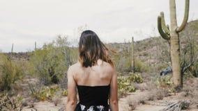 Η σε αργή κίνηση κάμερα ακολουθεί τη νέα ελκυστική γυναίκα τουριστών με την πετώντας τρίχα που περπατά στο πάρκο ερήμων κάκτων Sa απόθεμα βίντεο
