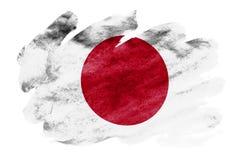 Η σημαία της Ιαπωνίας απεικονίζεται στο υγρό ύφος watercolor που απομονώνεται στο άσπρο υπόβαθρο διανυσματική απεικόνιση