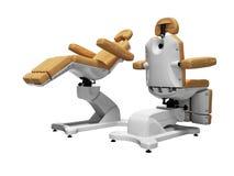 Η σύγχρονη καφετιά καρέκλα pedicure δέρματος κατά τη διπλωμένη και ξετυλιγμένη άποψη δικαιώματος του κράτους τρισδιάστατη δεν δίν διανυσματική απεικόνιση