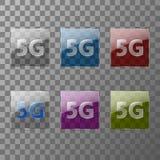 Η σύγχρονη τεχνολογία μετάδοσης σημάτων 5G απεικονίζεται στα πολύχρωμα διαφανή πιάτα γυαλιού απεικόνιση αποθεμάτων