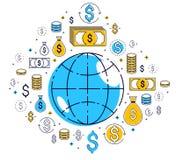 Η σφαιρική έννοια οικονομίας, πλανήτης Γη με τα εικονίδια δολαρίων έθεσε, διεθνής επιχείρηση, ανταλλαγή νομίσματος, παγκόσμιο δίκ απεικόνιση αποθεμάτων