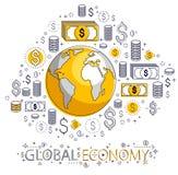 Η σφαιρική έννοια οικονομίας, πλανήτης Γη με τα εικονίδια δολαρίων έθεσε, διεθνής επιχείρηση, ανταλλαγή νομίσματος, παγκόσμιο δίκ ελεύθερη απεικόνιση δικαιώματος