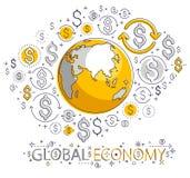 Η σφαιρική επιχειρησιακή έννοια, πλανήτης Γη με τα εικονίδια δολαρίων έθεσε, διεθνής οικονομία, ανταλλαγή νομίσματος, παγκόσμιο δ διανυσματική απεικόνιση