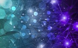 Η φουτουριστική περίληψη φωτίζει τη γραμμή και διαστίζει την ασύρματα σύνδεση και το κύμα με το τρίγωνο φωτεινό στο μπλε υπόβαθρο διανυσματική απεικόνιση