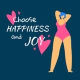 Η υπέρβαρη γυναίκα σε Swimwear θαυμάζει της διανυσματική απεικόνιση