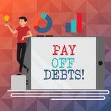 Η παρουσίαση σημαδιών κειμένων πληρώνει μακριά τα χρέη Η εννοιολογική πληρωμή φωτογραφιών για το πράγμα εσείς έχει στις επενδύσει διανυσματική απεικόνιση