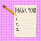 Η παρουσίαση σημειώσεων γραψίματος σας ευχαριστεί Ευγνωμοσύνη αναγνώρισης χαιρετισμού εκτίμησης επίδειξης επιχειρησιακών φωτογραφ ελεύθερη απεικόνιση δικαιώματος