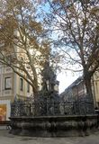 Η πηγή με το άγαλμα Ποσειδώνα στοκ εικόνες με δικαίωμα ελεύθερης χρήσης