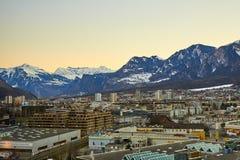 Η πόλη Chur στις Άλπεις της Ελβετίας στα σύνορα με την Ιταλία στοκ φωτογραφίες