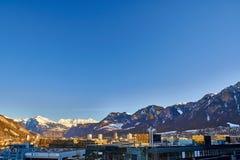 Η πόλη Chur στις Άλπεις της Ελβετίας στα σύνορα με την Ιταλία στοκ εικόνα