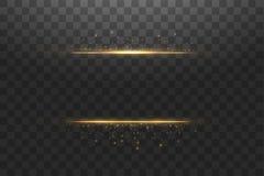 Η πυράκτωση απομόνωσε τη χρυσή διαφανή επίδραση, φλόγα φακών, έκρηξη, ακτινοβολεί, γραμμή, λάμψη ήλιων, σπινθήρας και αστέρια ξέν ελεύθερη απεικόνιση δικαιώματος