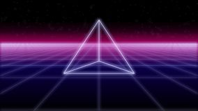 Η πυραμίδα Synthwave σε ένα αναδρομικό υπόβαθρο τρισδιάστατο δίνει στοκ φωτογραφία