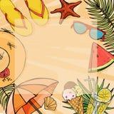 Θερινό πλαίσιο για το κείμενό σας Τρόφιμα παραθαλάσσιων διακοπών και καλοκαιριού Ζωηρόχρωμα στοιχεία παραλιών στο ύφος του σκίτσο διανυσματική απεικόνιση