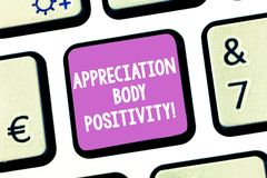 Θετική σκέψη σώματος εκτίμησης γραψίματος κειμένων γραφής Έννοια που σημαίνει την αποδοχή και την εκτίμηση των τύπων σωμάτων ελεύθερη απεικόνιση δικαιώματος
