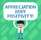 Θετική σκέψη σώματος εκτίμησης κειμένων γραφής Έννοια που σημαίνει την αποδοχή και την εκτίμηση της στάσης ατόμων τύπων σωμάτων απεικόνιση αποθεμάτων