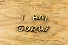 Θλιβερός ζητήστε συγγνώμη συγγνώμη συγχωρεί letterpress λάθους τον τύπο στοκ εικόνα με δικαίωμα ελεύθερης χρήσης