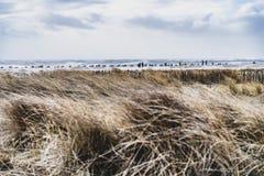 Θυελλώδης ημέρα στην παραλία στο νησί Sylt στοκ εικόνα