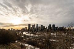 12 Ιανουαρίου 2019 - στο κέντρο της πόλης ορίζοντας του Κάλγκαρι, Αλμπέρτα - του Καναδά - του Κάλγκαρι στοκ εικόνες