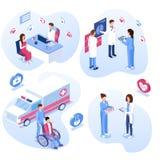 Ιατρικό σύνολο προσωπικού Αρσενικοί και θηλυκοί γιατροί, νοσοκόμες και υπομονετικές έννοιες ελεύθερη απεικόνιση δικαιώματος