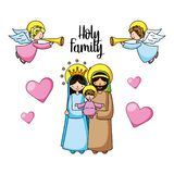 Ιερά οικογενειακά χριστιανικά κινούμενα σχέδια απεικόνιση αποθεμάτων