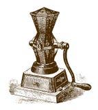 Ιστορικός μηχανικός μύλος καφέ και καρυκευμάτων διανυσματική απεικόνιση