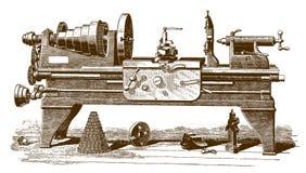 Ιστορικός τόρνος μηχανών κατά την πλάγια όψη απεικόνιση αποθεμάτων