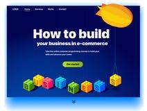 Ιστοχώρος που παρέχει την υπηρεσία για το πώς να χτίσει την επιχείρησή σας στο ηλεκτρονικό εμπόριο διανυσματική απεικόνιση