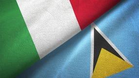 Ιταλία και Αγία Λουκία δύο υφαντικό ύφασμα σημαιών, σύσταση υφάσματος απεικόνιση αποθεμάτων