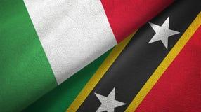 Ιταλία και Σαιντ Κιτς και Νέβις δύο υφαντικό ύφασμα σημαιών, σύσταση υφάσματος απεικόνιση αποθεμάτων