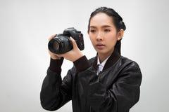 Κάμερα λαβής φωτογράφων με το εξωτερικό σημείο ανάφλεξης στοκ φωτογραφίες με δικαίωμα ελεύθερης χρήσης