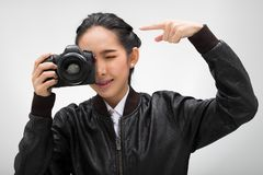 Κάμερα λαβής φωτογράφων με το εξωτερικό σημείο ανάφλεξης στοκ εικόνα με δικαίωμα ελεύθερης χρήσης