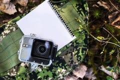 Κάμερα δράσης για να συλλάβει τα βίντεό σας Κατάλληλος για το ταξίδι αυτοκινήτων, αθλητισμός, κατάδυση, στοκ εικόνες
