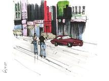 Κάνοντας ωτοστόπ στην οδό πόλεων, που χρωματίζεται από τους δείκτες στοκ εικόνες