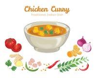 Κάρρυ κοτόπουλου Διανυσματική απεικόνιση των δημοφιλών τροφίμων ελεύθερη απεικόνιση δικαιώματος