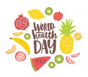 Κάρτα ημέρας παγκόσμιας υγείας με την κομψή εγγραφή που γράφεται από τη ρέουσα πηγή και που περιβάλλεται από ολόκληρα τα θρεπτικά διανυσματική απεικόνιση
