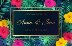 Κάρτα πρόσκλησης γαμήλιου γεγονότος Η εξωτική τροπική διακόσμηση πλαισίων φοινικών φύλλων ζουγκλών λουλουδιών γάμου αφισών προσκα απεικόνιση αποθεμάτων