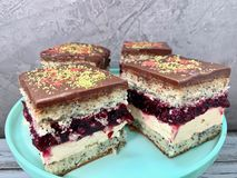 Κέικ σοκολάτας με το κεράσι στοκ εικόνες