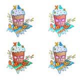 Κέικ Πάσχας, αυγά και χρωματισμένο κλαδίσκοι watercolor ιτιών απεικόνιση αποθεμάτων